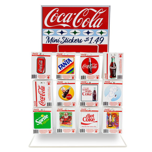 Coca-Cola Mini Vinyl Stickers Bundle 480 ct with POP Counter Display Rack