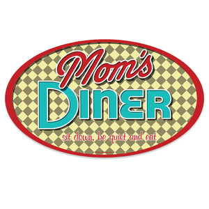 Moms Diner Checked Mini Vinyl Sticker 20 ct