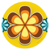 Mod Flower Brown 70s Style Mini Vinyl Sticker 20 ct