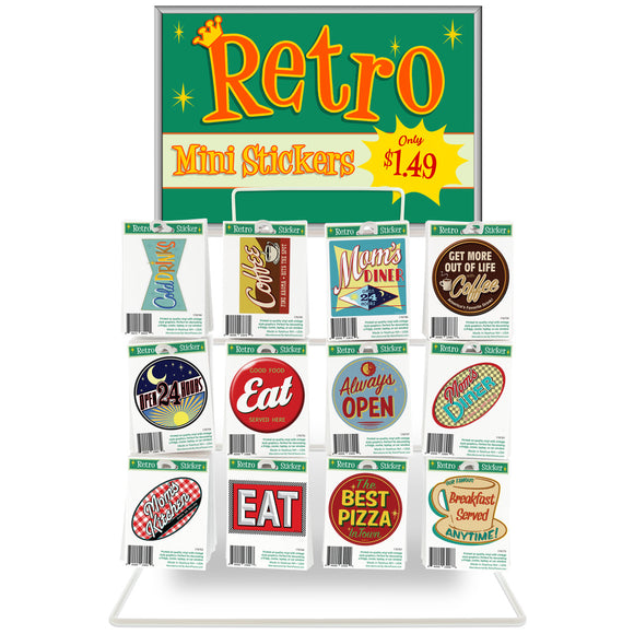 Mini Diner Vinyl Stickers Bundle 480 ct with POP Counter Display Rack