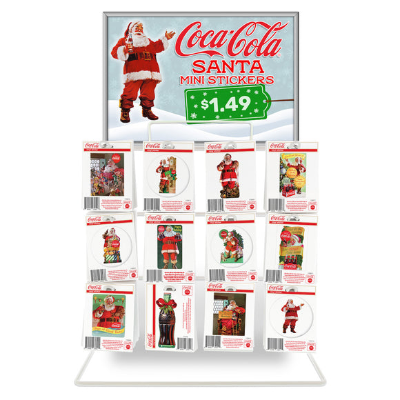 Coca-Cola Santa Mini Vinyl Stickers Bundle 480 ct with POP Counter Display Rack