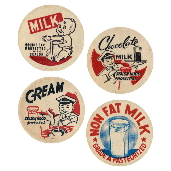 Milk Bottle Caps Vinyl Sticker Set of 4