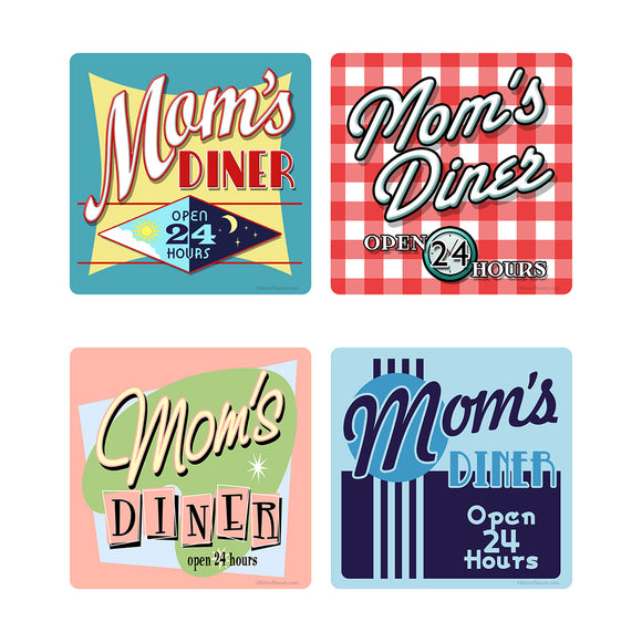 Moms Diner Vinyl Sticker Set of 4