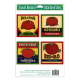 Tomato Can Labels Vinyl Sticker Set of 4