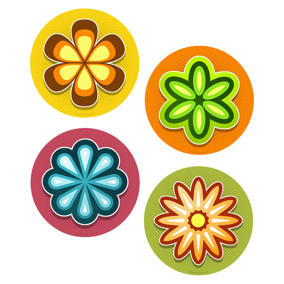 70s Style Mod Flowers Vinyl Sticker Set of 4