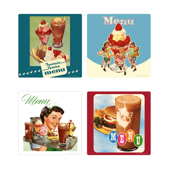 Ice Cream Parlor Diner Menu Vinyl Sticker Set of 4