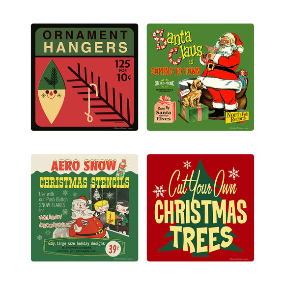 Christmas Decor Vintage Style Vinyl Sticker Set of 4