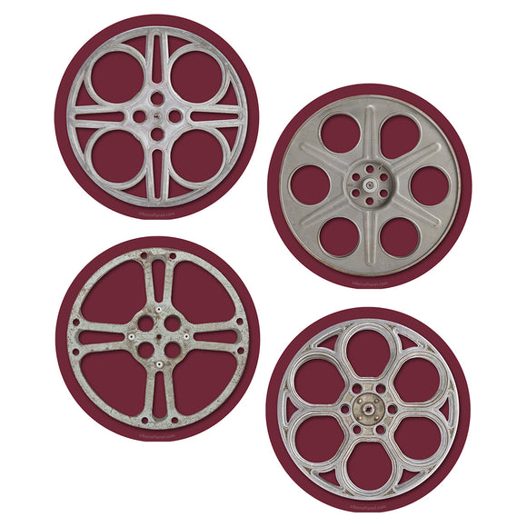 Movie Film Reels Vinyl Sticker Set of 4