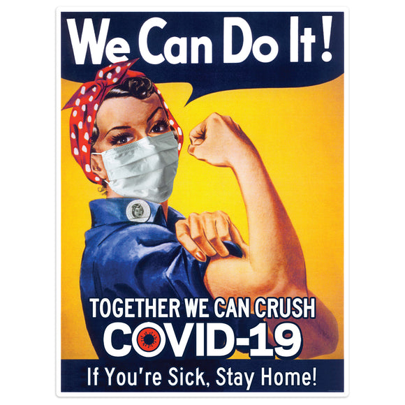 Rosie Riveter Crush The Virus Mini Vinyl Stickers 20 ct