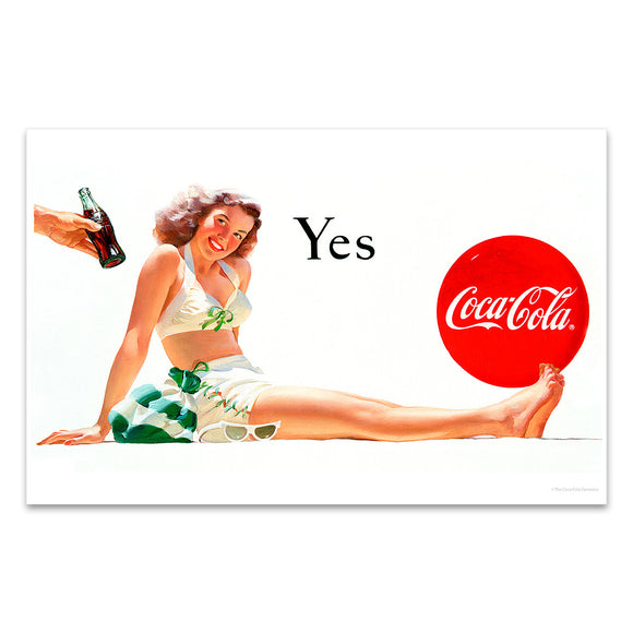 Coca-Cola Beach Girl Yes Mini Poster