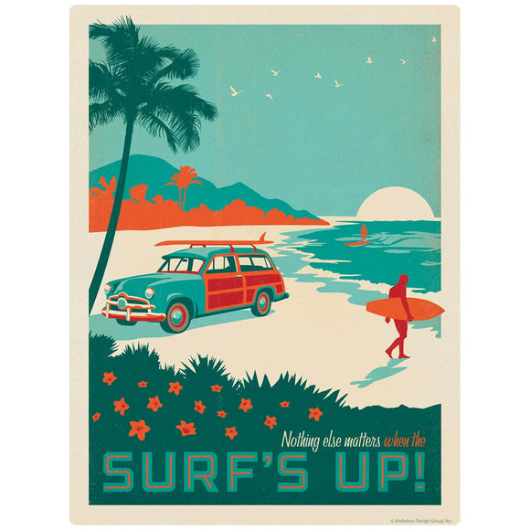Surfs Up Beach Woodie Wagon Decal