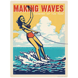 Water Ski Girl Making Waves Decal