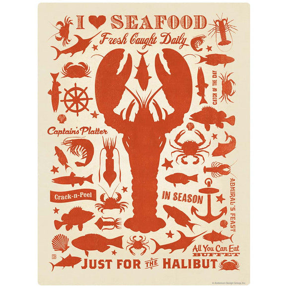 I Love Seafood Lobster Decal