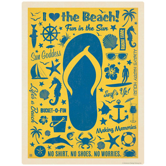 I Love the Beach Flip Flop Decal