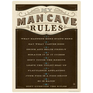 My Man Cave Rules Decal