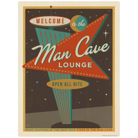 Man Cave Lounge Open All Nite Decal