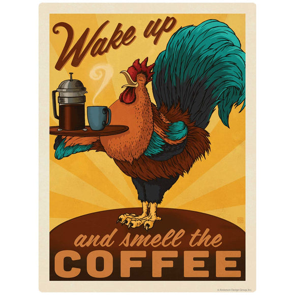 Smell the Coffee Rooster Decal