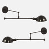 Swing Arm Counterbalance Wall Sconce - Mirrored Pair In Blackened Brass