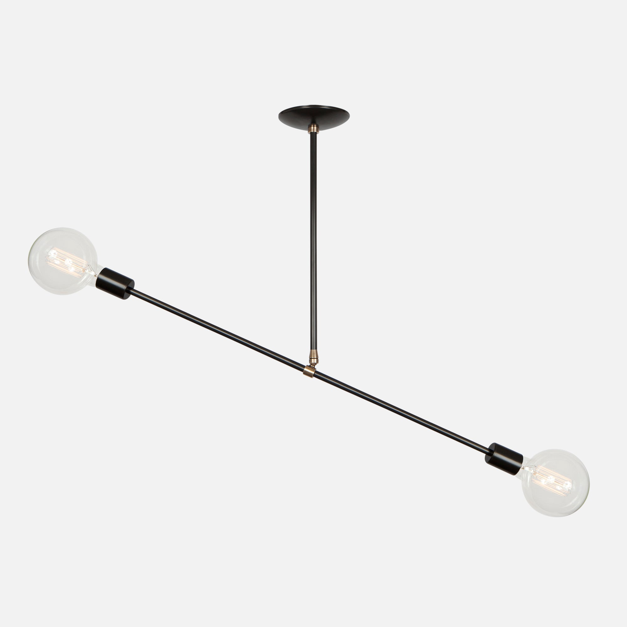 Balance Pendant Light - Angle 1 - Matte Black with Aged Brass