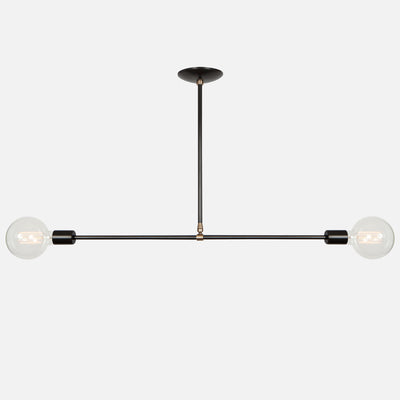 Balance Pendant Light - Horizontal - Matte Black with Aged Brass Details