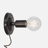 Bare Bulb Wall Sconce - Ebonized Brass - Plug-In