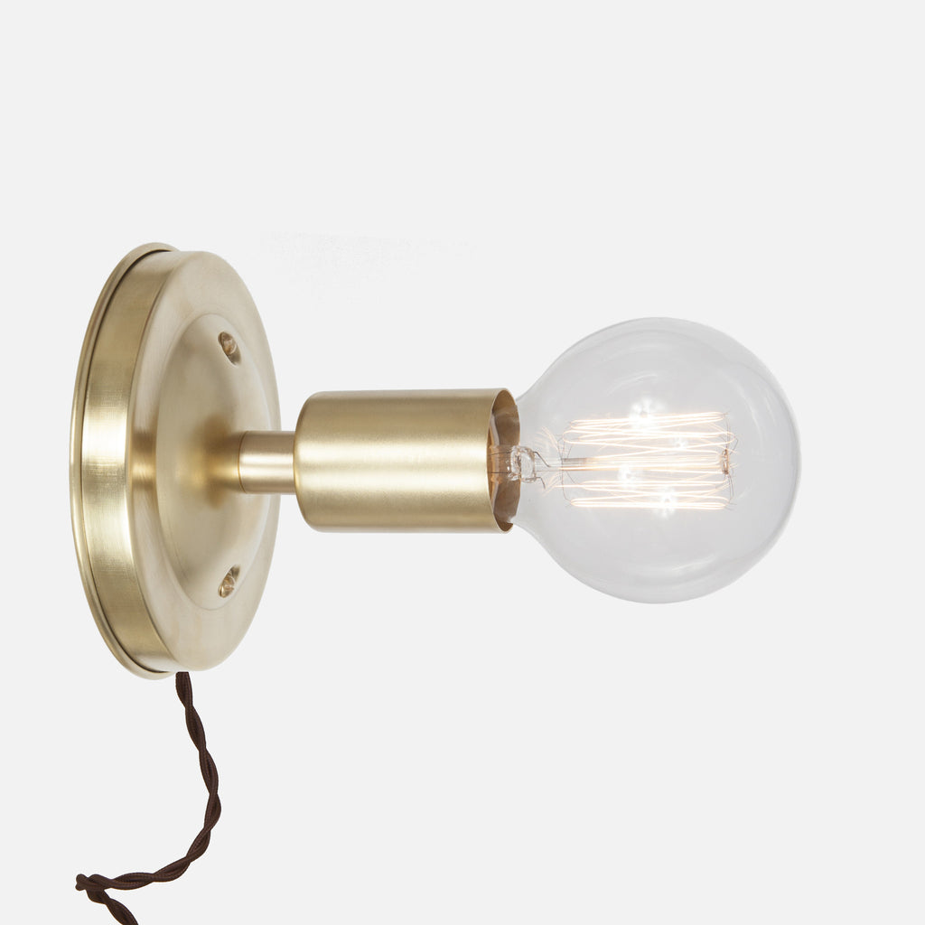Bare Bulb Wall Sconce - Raw Brass - Plug-In