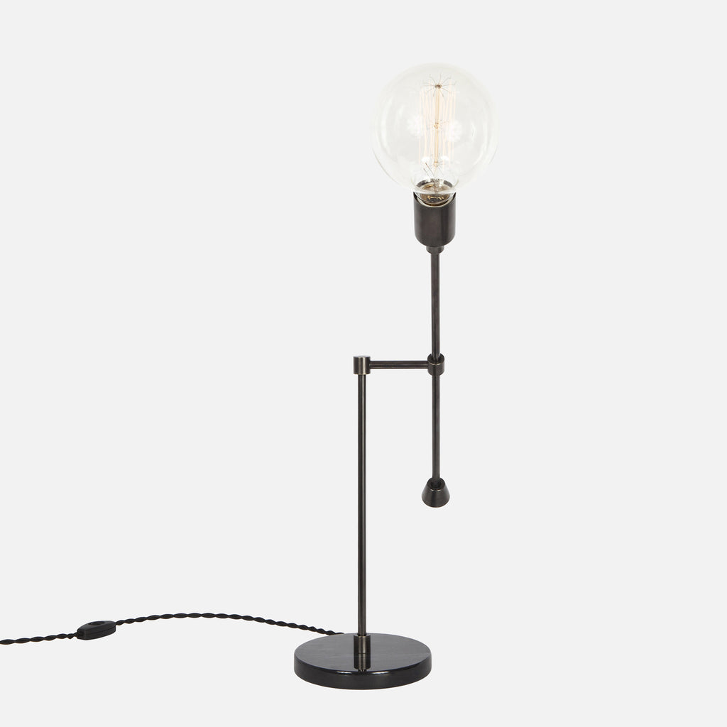 Counterbalance Bare Bulb Table Lamp - Ebonized Brass - Side Detail