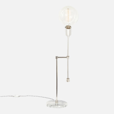 Counterbalance Bare Bulb Table Lamp - Polished Nickel - Side View