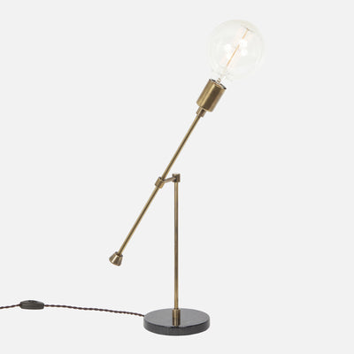 Counterbalance Bare Bulb Table Lamp - Vintage Brass - Bulb Right
