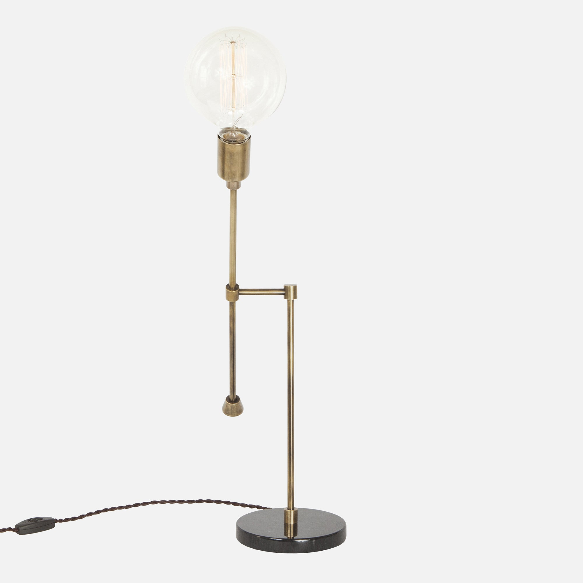 Counterbalance Bare Bulb Table Lamp   Vintage Brass   Side View