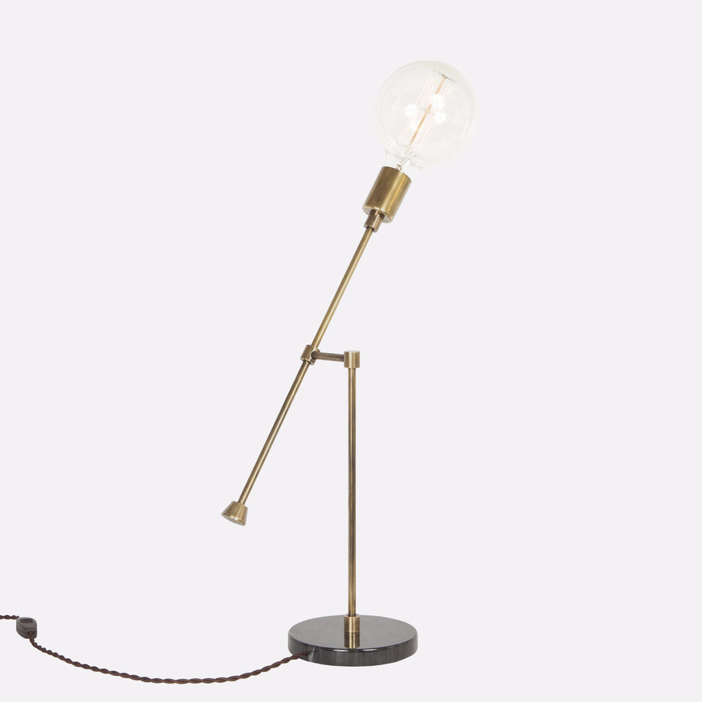 Counterbalance Bare Bulb Table Lamp - Vintage Brass - Back Detail