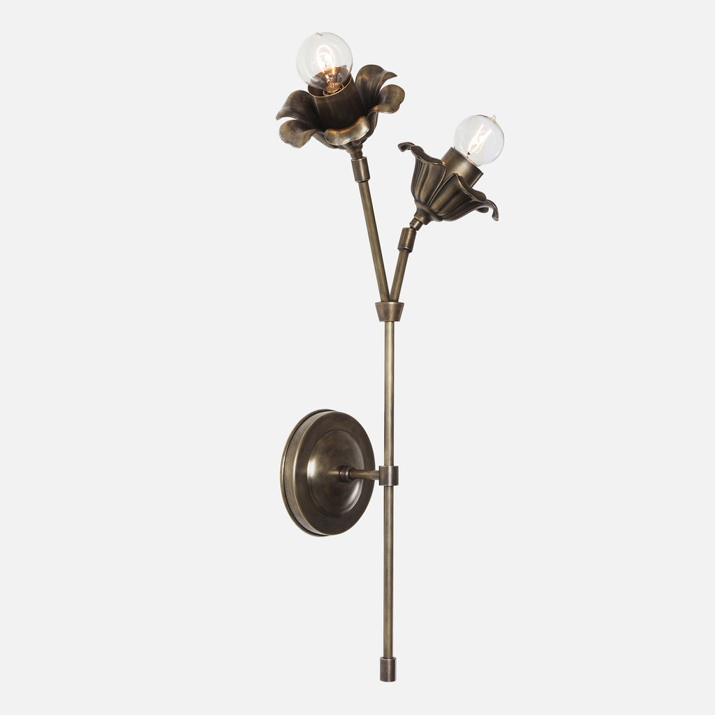 Bloom Double Stem Wall Sconce - Vintage Brass - Tall Flower Left