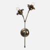 Bloom Double Stem Wall Sconce - Vintage Brass - Tall Flower Right