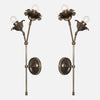 Bloom Double Stem Wall Sconce Mirrored Pair in Vintage Brass