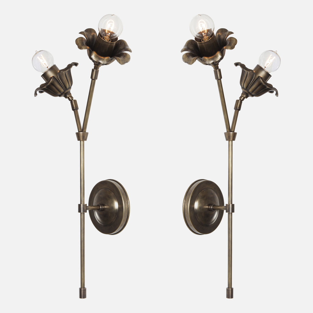 Bloom Double Stem Wall Sconce - Mirrored Pair - Vintage Brass Patina
