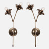 Bloom Wall Sconce Double Stem Mirrored Pair Front View