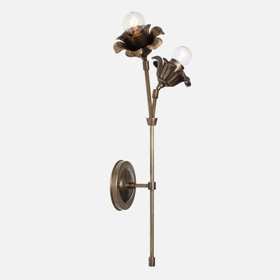 Bloom Wall Sconce Double Stem Tall Flower Left in Vintage Brass Side View