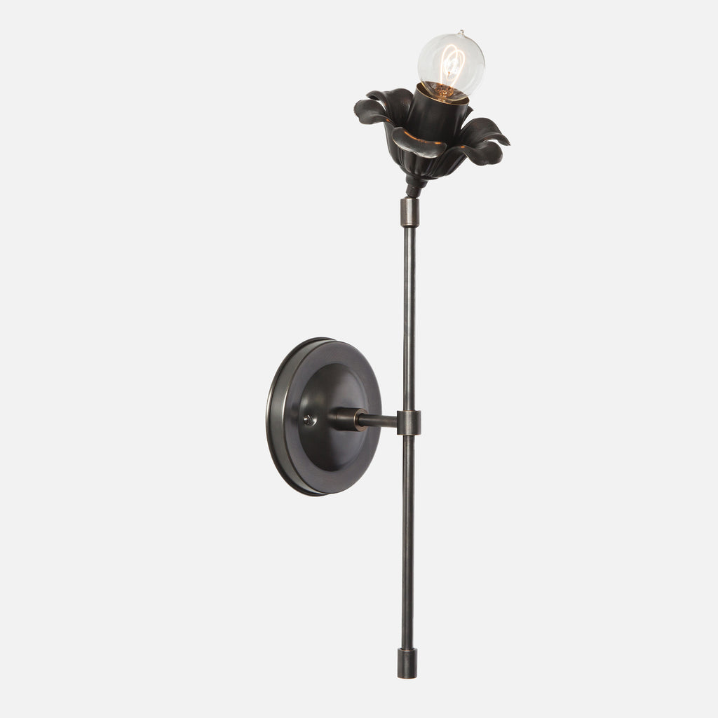 Bloom Single Stem Articulating Wall Sconce - Ebonized Brass Patina