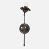 Bloom Wall Sconce Single Stem Flower Right in Blackened Brass