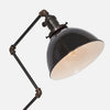 Black Porcelain Enamel Dome Shade Detail - Zig Brass Pipe Table Lamp