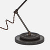 Vintage Barbell & Honed Marble Base Detail - Brass Pipe Table Lamp