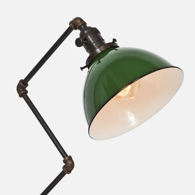Green Porcelain Enamel Dome Shade Detail - Zig Brass Pipe Table Lamp