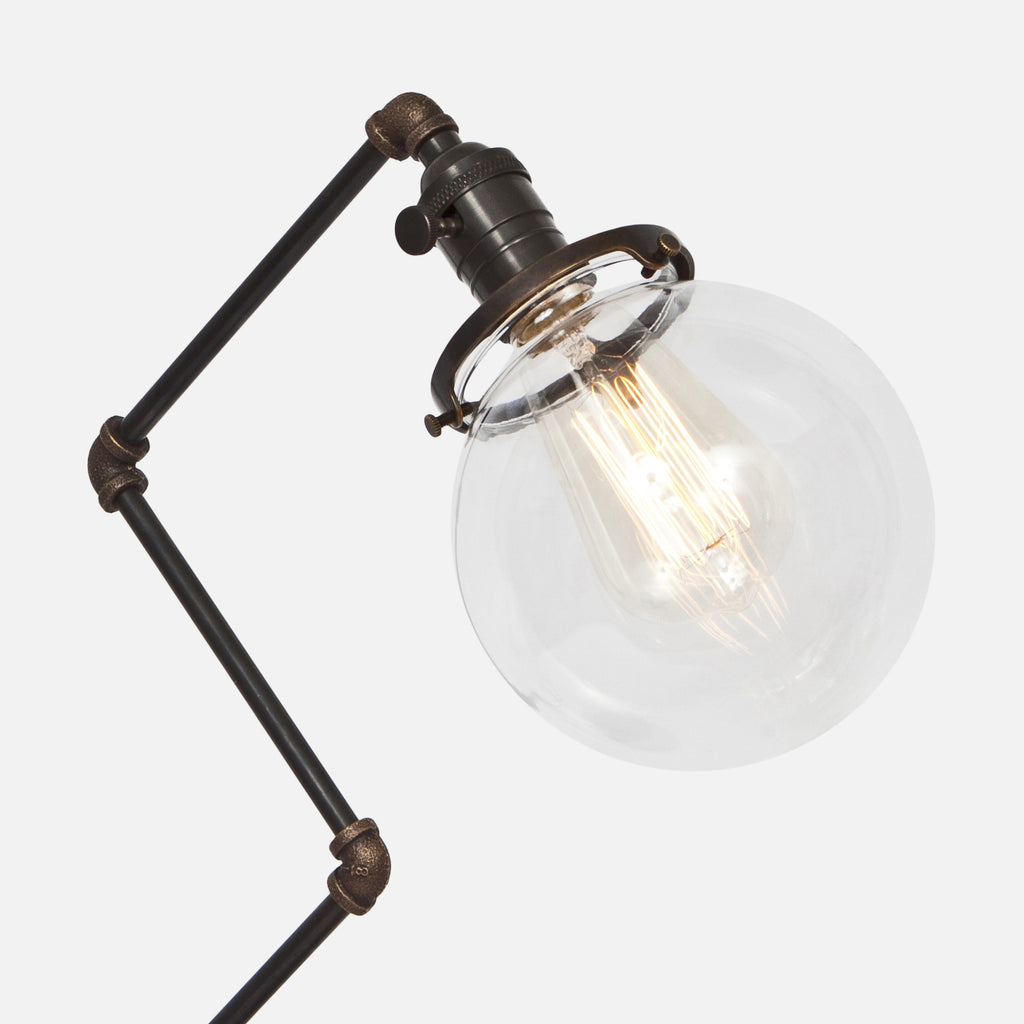 Clear Glass Globe Shade Detail - Brass Pipe Table Lamp