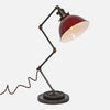 Zig Brass Pipe Table Lamp - Red Porcelain Enamel Dome Shade