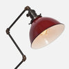 Red Porcelain Enamel Dome Shade Detail - Zig Brass Pipe Table Lamp