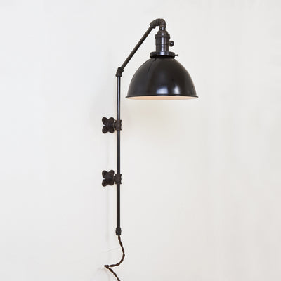 Brass Pipe Wall Sconce - Black Dome Shade
