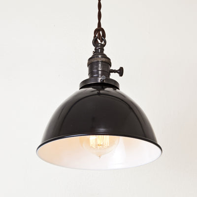 Black Porcelain Dome Shade Pendant Light - Brass Switch Socket - Detail