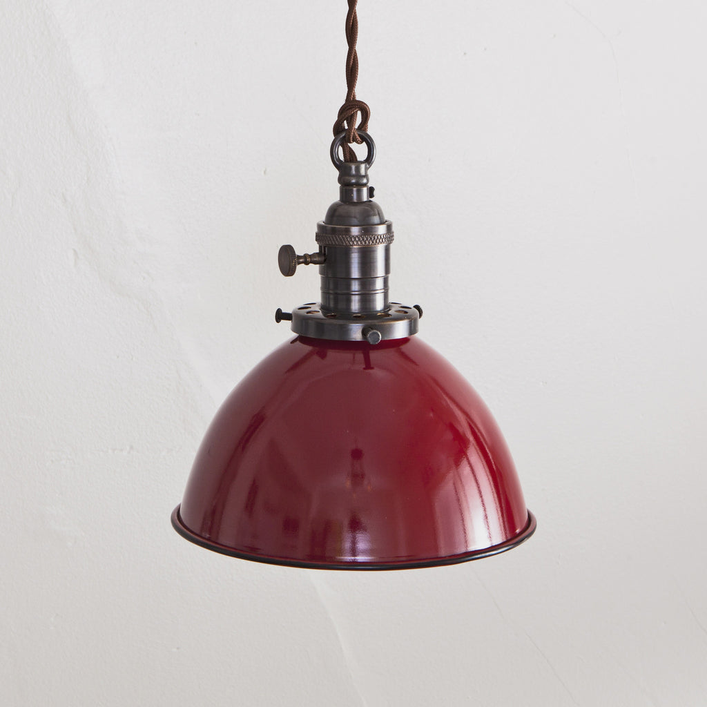 Red Porcelain Dome Shade Pendant Light - Brass Switch Socket