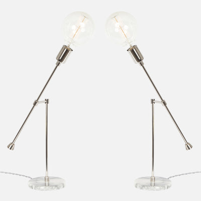 Counterbalance Bare Bulb Table Lamp - Polished Nickel - Mirrored Pair