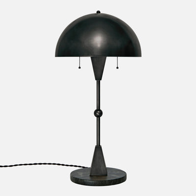 Dome Table Lamp - Ebonized Brass - Black Marble Base - Front View